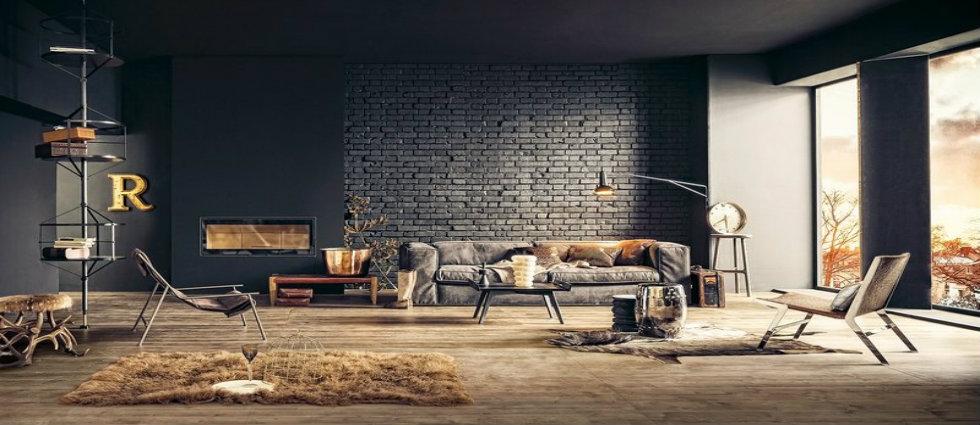 style industriel 12 IDÉES POUR UN DESIGN D'INTÉRIEUR STYLE INDUSTRIEL salon style industriel design parement brique noire plancher tapis