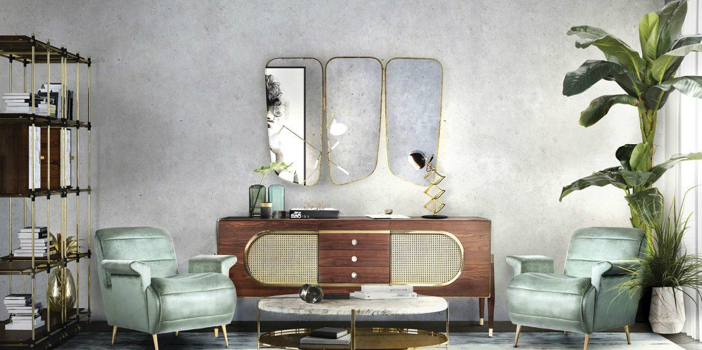 Conseils De Décoration: 10 Miroirs Incroyables Pour Votre Maison Midcentury modern living room decor from Essential Home 1