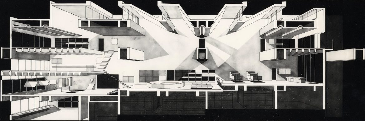 Arata Isozaki – Prix Pritzker 2019 11 Section perspective1 Oita Prefectural Library 1966